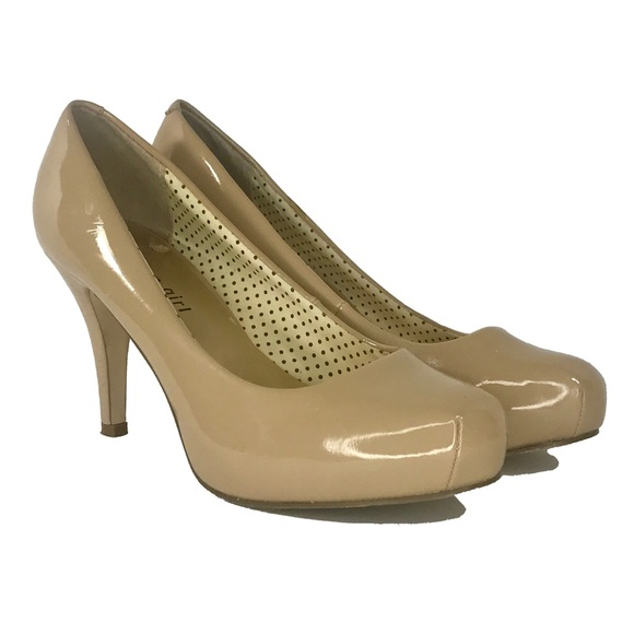 MADDEN GIRL Getta Nude (Tan) Patent Platform Heels